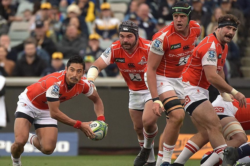 Sunwolves scrum-half Keisuke Uchida getting the ball away during the Super Rugby match against the ACT Brumbies in Canberra earlier this month.