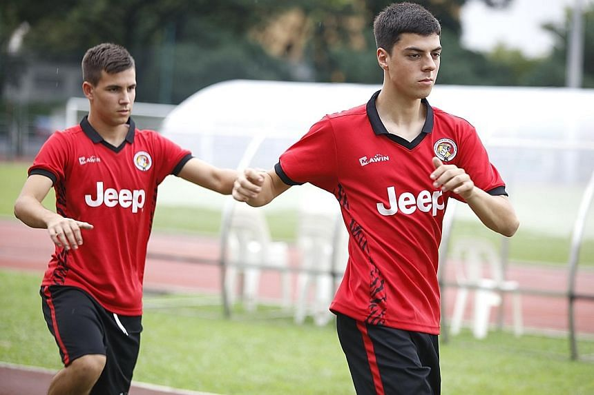 Balestier Khalsa are hoping the foreign pairing of 18-year-olds Dusan Marinkovic (left) and Sanjin Vrebac can give their injury-hit squad a boost ahead of their Singapore Premier League clash against Tampines Rovers today.