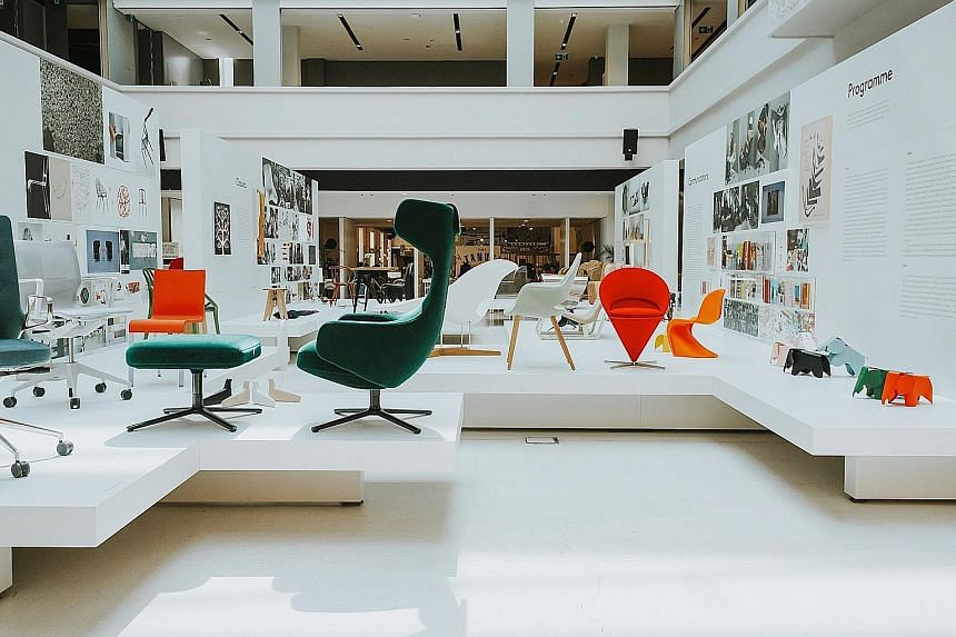 Project Vitra - Design, Architecture, Communications (1950-2017, above) is an exhibition on Swiss furniture-maker Vitra that shines a spotlight on the family-owned business and its origins as a shopfitting company.