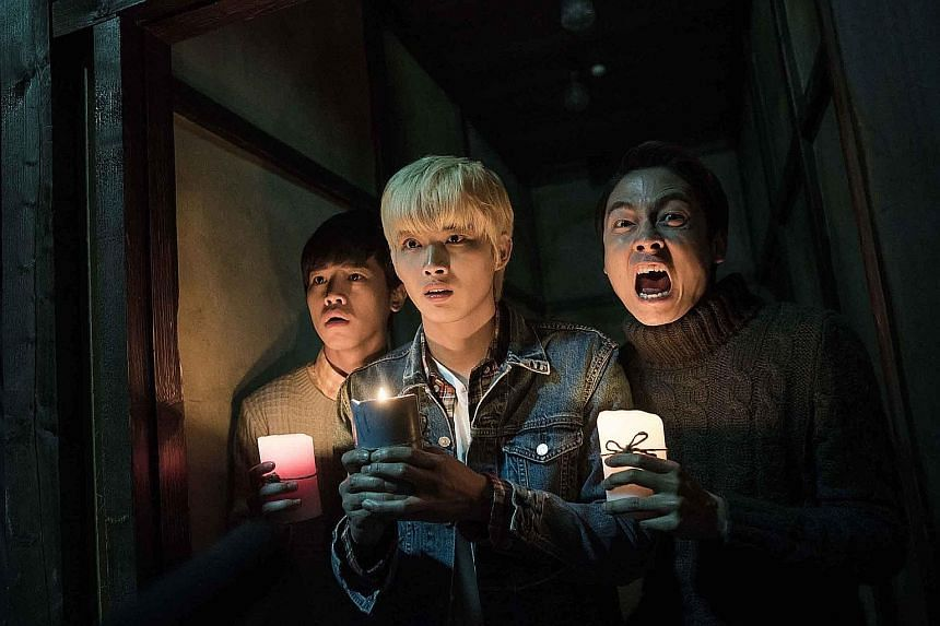 Secrets In The Hot Spring stars (from left) Hung Yan Siang, Zhang Ting Hu and Lin He Xuan. The horror-comedy centres on three classmates who end up as caretakers of a hot spring hotel, and how their friendship deepens when they are confronted by ghos