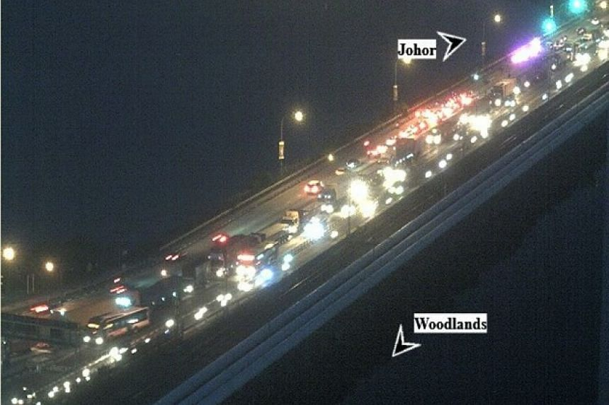 A view of the Woodlands Causeway (towards Johor) at about 6.30am. A Facebook post by Immigration and Checkpoints Authority (ICA) at 2.30am said that a traffic accident had occurred at the Causeway.