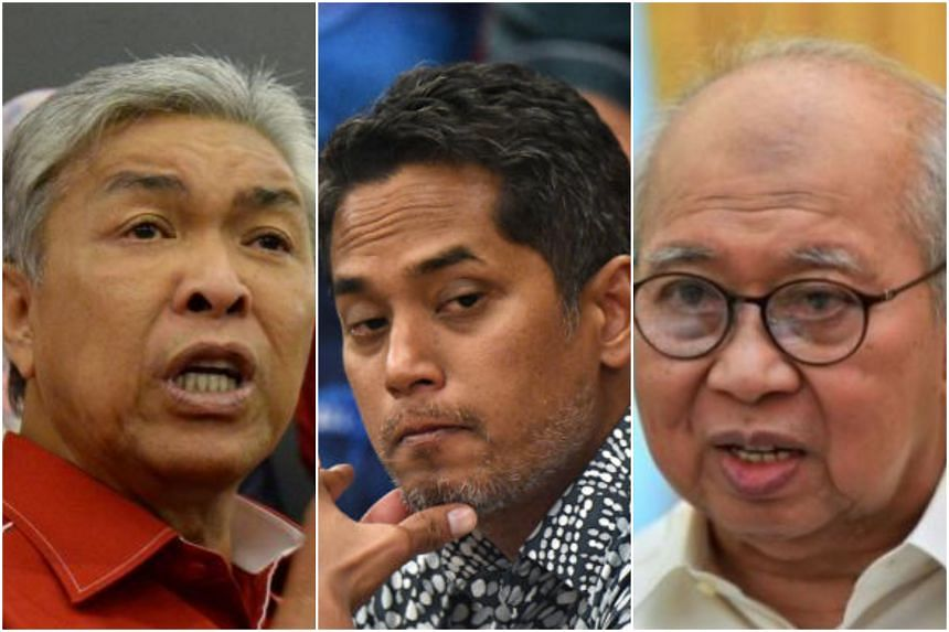 (From left) Acting Umno president Ahmad Zahid Hamidi, former Youth and Sports Minister Khairy Jamaluddin and party veteran Tengku Razaleigh Hamzah are among those vying for the presidency post.