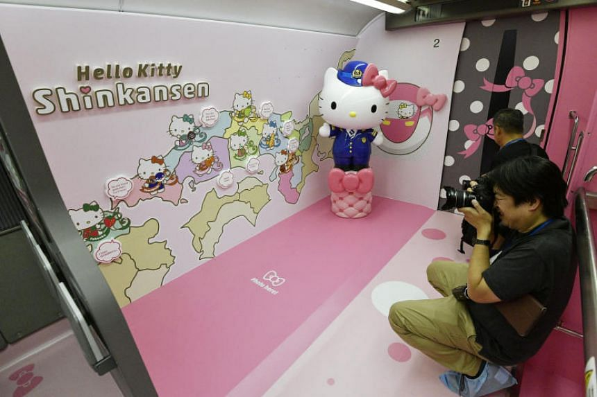 "Inside the train, Hello Kitty smiles down from the shades of every window, while one car features a ""life-sized Hello Kitty doll"" for fans to take selfies with."