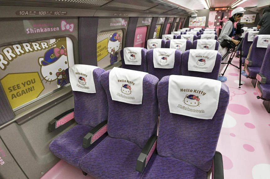 The interior of the Hello Kitty bullet train in Japan.