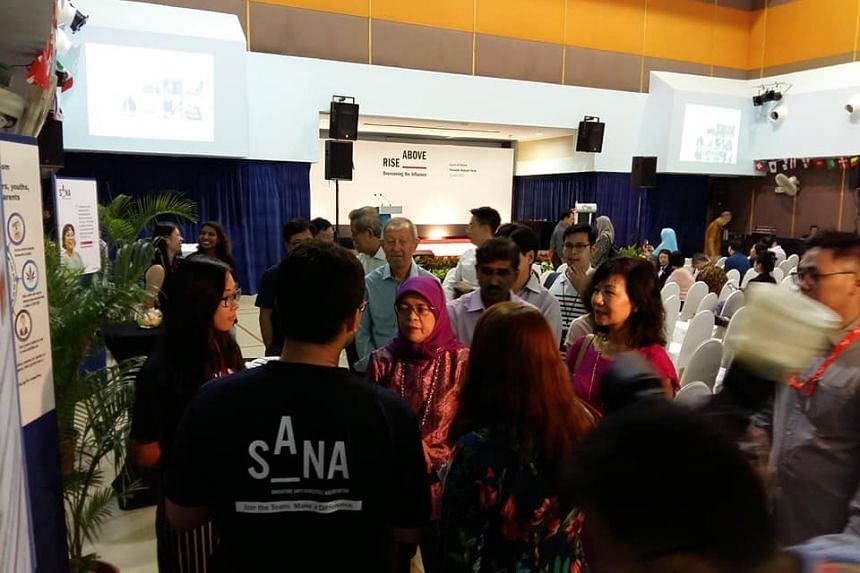 President Halimah Yacob at the launch of the Singapore Anti-Narcotics Association's new campaign, Rise Above - Overcoming The Influence, on June 30, 2018.