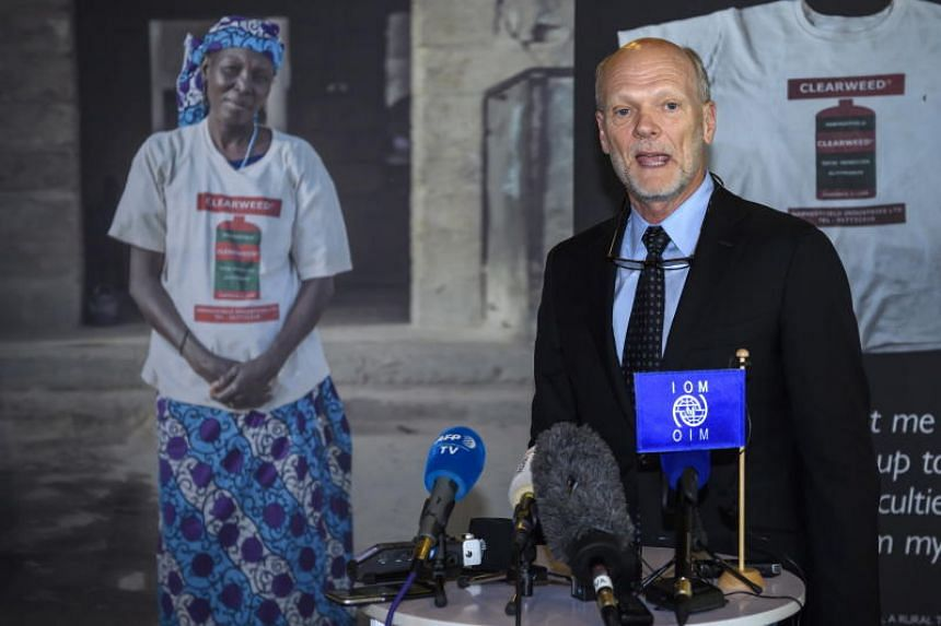US Ken Isaacs speaks a press conference after beeing eliminated from the election ballot for the new president of the International Organization for Migration (IOM) in Geneva, Switzerland, on June 28, 2018.