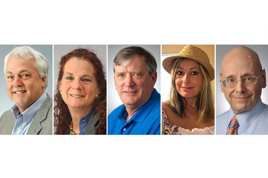 (From left) Rob Hiaasen, Wendi Winters, John McNamara, Rebecca Smith, and Gerald Fischman were killed when a gunman targeted the Capital Gazette newsroom in Annapolis, Maryland, on June 28, 2018.