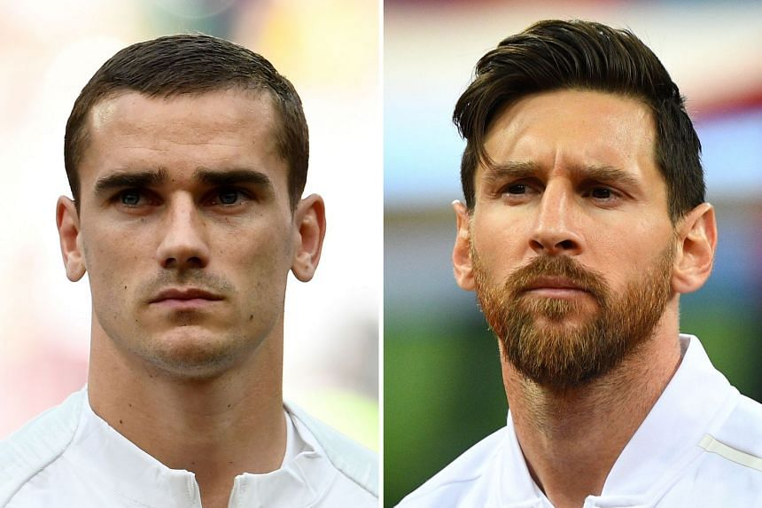 France's forward Antoine Griezmann (left) and Argentina's forward Lionel Messi.