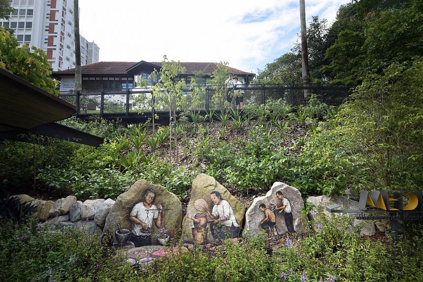 A rock mural painted by artist Yip Yew Chong at the Singapore Botanic Gardens ' new ethnobotany Garden that was opened on June 30, 2018.