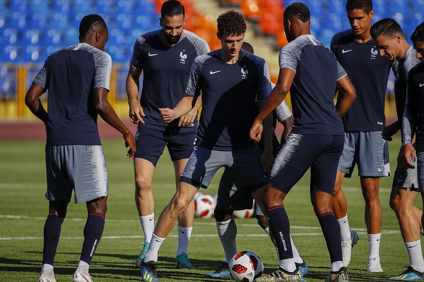 France player Benjamin Pavard (centre) during a training session in Kazan, Russian Federation, on June 29, 2018.