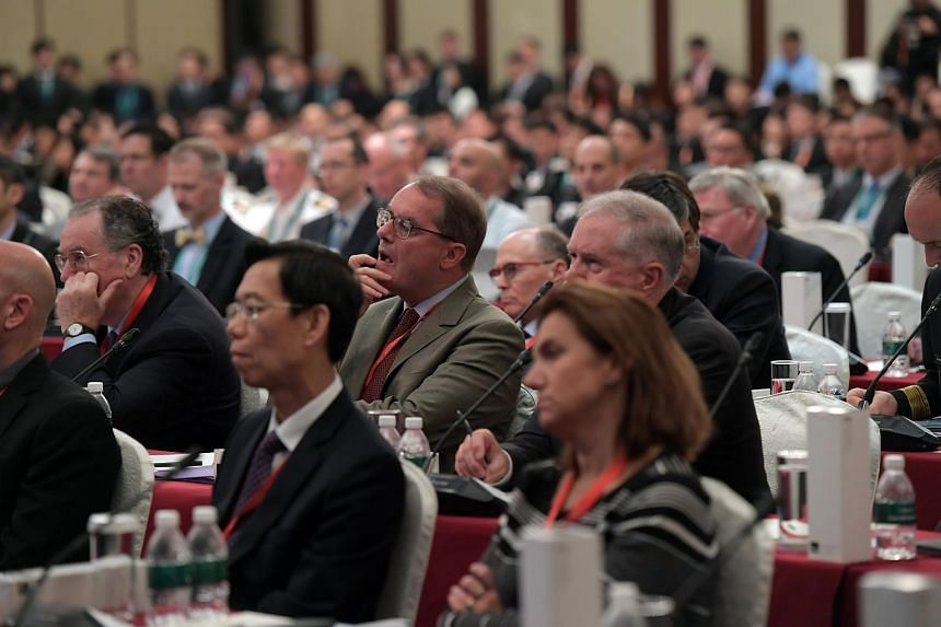 Delegates, including representatives from the British military and Chinese firms and academics from the United States, at the opening of Singapore's inaugural Defence Tech Summit, on June 28, 2018.