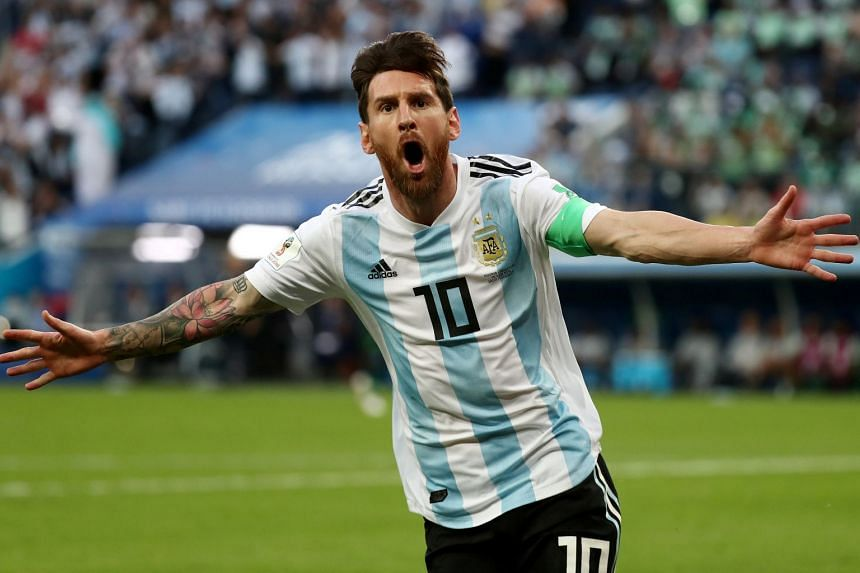 Argentina's Lionel Messi celebrates aftr scoring a goal in the 2018 World Cup clash with Nigeria in St Petersburg, on June 26, 2018.