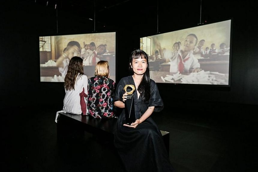 Phan Thao Nguyen's installation of videos and oil paintings titled Tropical Siesta imagines a village populated only by children.