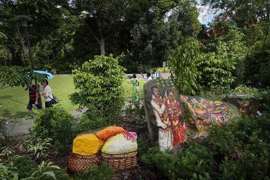 A rock mural painted by artist Yip Yew Chong at the Singapore Botanic Gardens' new attraction - the ethnobotany garden, which was opened yesterday.