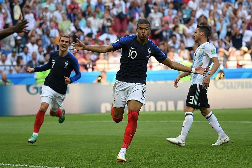 Kylian Mbappe, at 19 years of age, became the first teenager since Pele in 1958 to score twice in a World Cup match, as France beat Argentina 4-3 in a cracking last-16 tie yesterday. His sensational double helped France progress to the quarter-finals