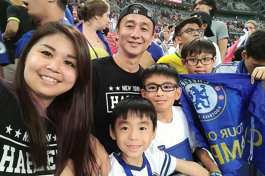 Kong En Foon with her husband Chung Thien Soong and their two sons (from left) Chung Zhen Yang and Chung Zhen Ming, together with a friend of the boys.