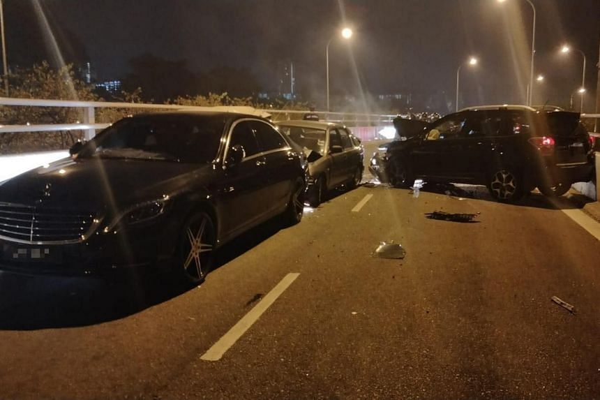 The accident involved three Singapore-registered cars and a Malaysian-registered car.