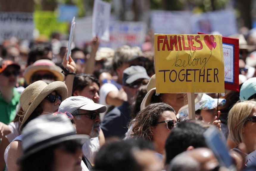 Thousands of people rally in protest of the immigration policies at San Francisco City Hall in California, on June 30, 2018.