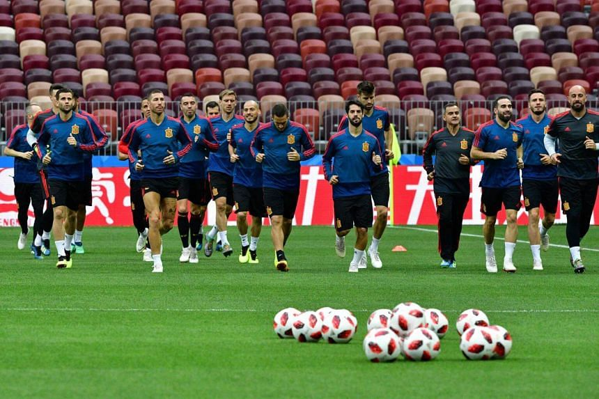 Spain's team players take part in a training session at the Luzhniki Stadium in Moscow, on June 30, 2018.
