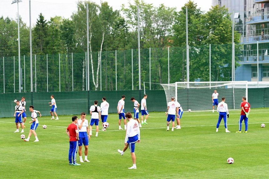Russia's national soccer team players during a training session held at Federal Sports Centre Novogorsk, in Russia, on June 30, 2018.