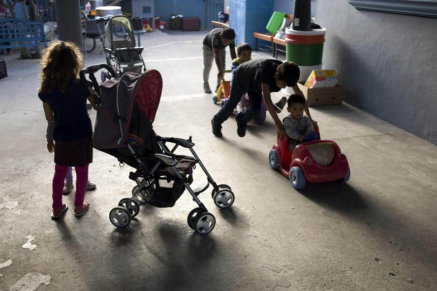 Children play in the patio of the Centro Madre Assunta, a shelter for migrant women and children, in Tijuana, on June 20, 2018.