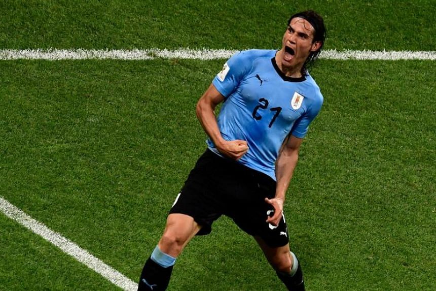 Uruguay's forward Edinson Cavani celebrates after scoring a second goal during the Russia 2018 World Cup round of 16 football match between Uruguay and Portugal at the Fisht Stadium in Sochi on June 30, 2018.