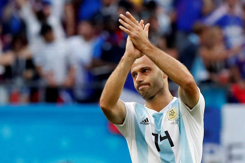 Argentina's Javier Mascherano looks dejected after the match.
