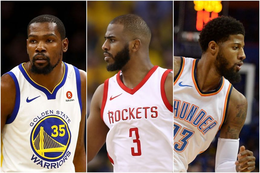 NBA superstars (from left) Kevin Durant, Chris Paul and Paul George have all agreed to stay on with their current teams.
