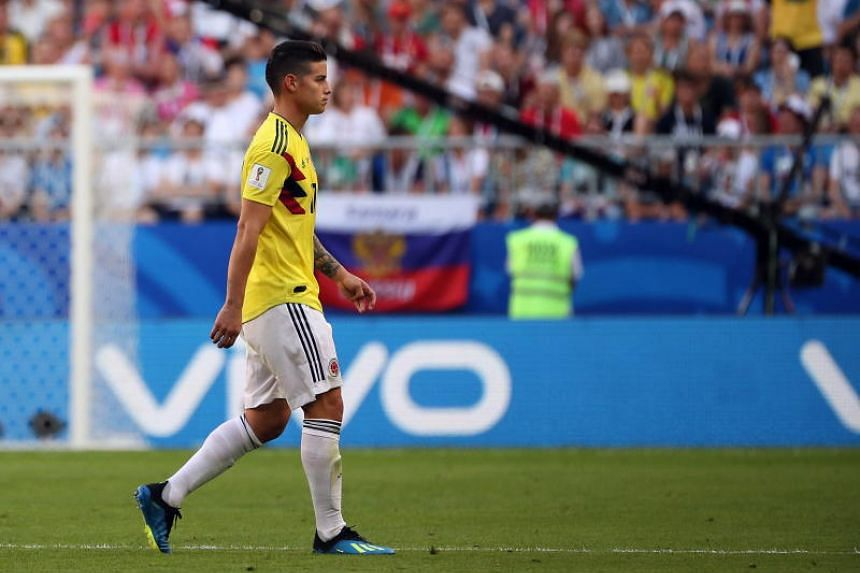 James Rodriguez leaving the pitch after being injured during the World Cup match between Colombia and Senegal, on June 28, 2018.