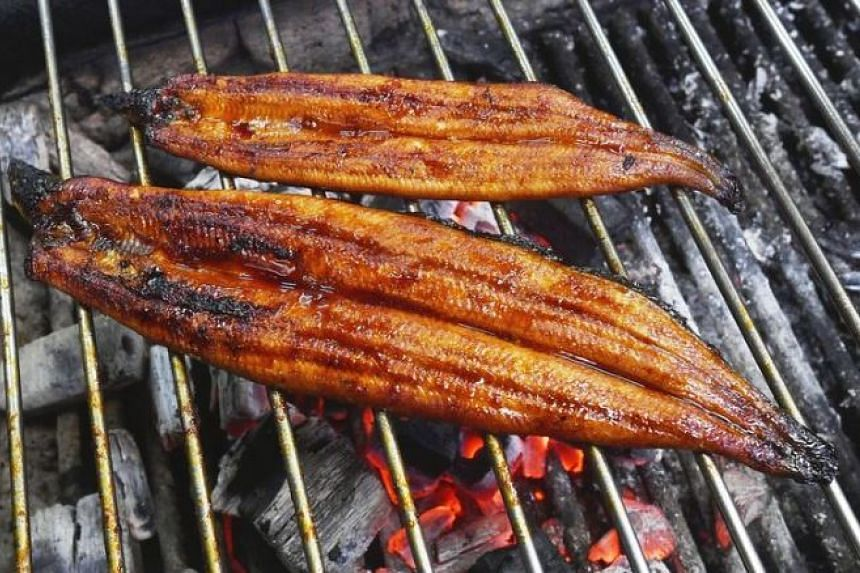 """Two pieces of eel being grilled in """"kabayaki"""" style at a restaurant in Japan. Of the two, the """"fattened"""" eel (foreground) was double the size of an ordinary eel (background)."""