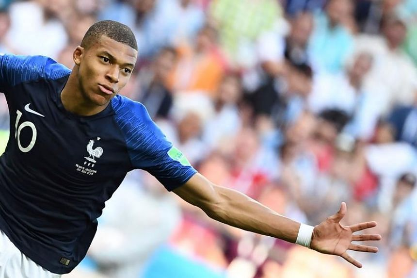 2d0be293b1ee Kylian Mbappe celebrating after scoring a goal for France against Argentina  during their World Cup match