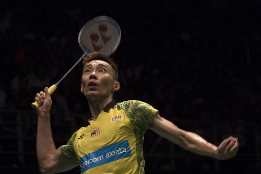 Lee Chong Wei preparing to hit a return to Kento Momota during their Malaysia Open final in Kuala Lumpur on July 1, 2018. The former world No. 1 won 21-17, 23-21 by going on the offensive against his younger opponent.