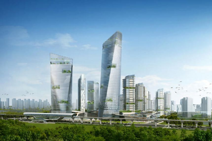An artist's impression of the Gateway Plaza in the Sino-Singapore Tianjin Eco-City.