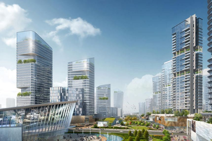An artist's impression of the Central Green Spine in the Sino-Singapore Tianjin Eco-City.
