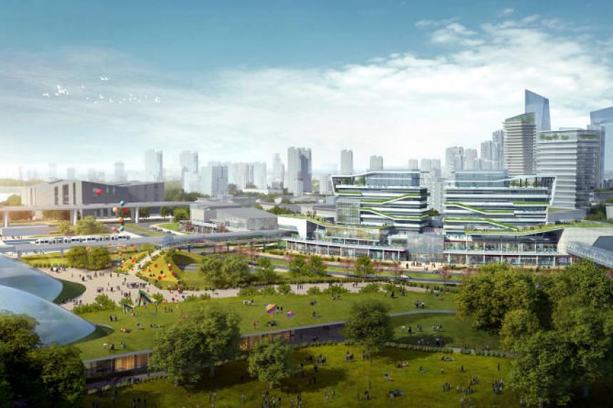 An artist's impression of the Hotel and Food Street in the Sino-Singapore Tianjin Eco-City.
