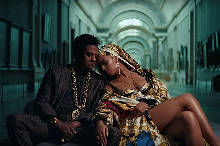 Music power couple Beyonce and Jay-Z, as The Carters, released a lavishly shot music video for Apes**t that features them (above) and a bevy of dancers performing in front of iconic art pieces such as the Mona Lisa at the Louvre Museum in Paris.