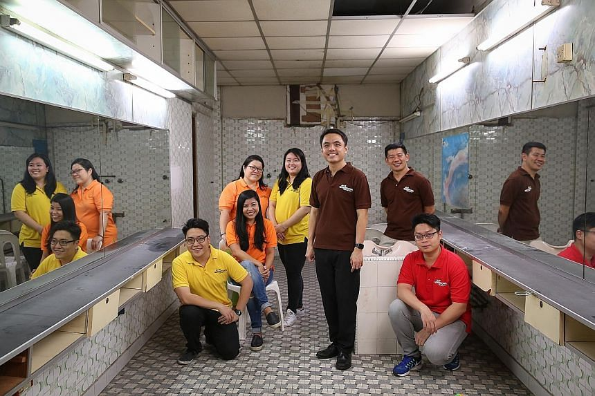 Helping to transform this shophouse unit into a community museum are the team members behind heritage group My Community (from left): Mr Victor Li, 35, Ms Yvonne Lin (seated), 35, Ms Chen Kim Yen, 47, Ms Grace Tng, 35, Mr Kwek Li Yong, 29, Mr Choo Li