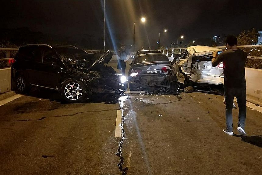 The accident at Woodlands Checkpoint early yesterday involved three Singapore-registered cars and a Malaysian-registered one. It comes a day after a fatal crash near the checkpoint that left two men dead.