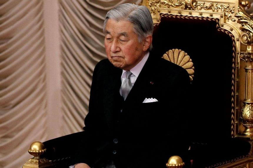 Japan's Emperor Akihito at a session of Parliament in Tokyo on Jan 22, 2018. He has cancelled his public duties after suffering dizziness and nausea due to cerebral anaemia.