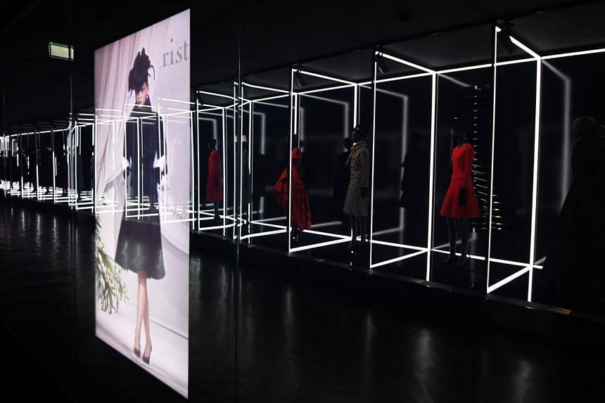 A file photo of dresses displayed during the Dior exhibition in London's Victoria and Albert Museum, on July 3, 2017.