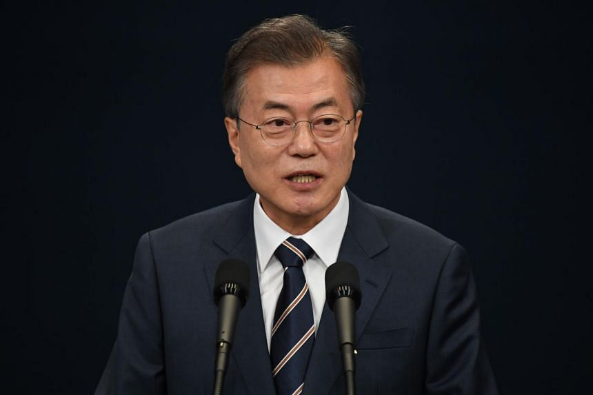 South Korean President Moon Jae-in (pictured) will meet President Halimah Yacob and Prime Minister Lee Hsien Loong during his visit to Singapore.