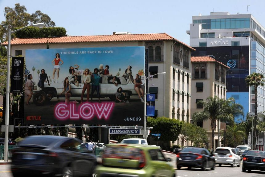 A billboard advertisement for Netflix's Glow on the Sunset Strip in Los Angeles, California, on June 28, 2018.