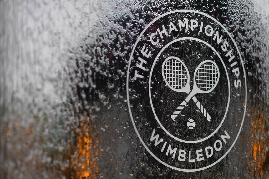A water feature with the Wimbledon logo at the All England Tennis Club, on July 1, 2018, the eve of the 2018 Wimbledon Championships tennis tournament.