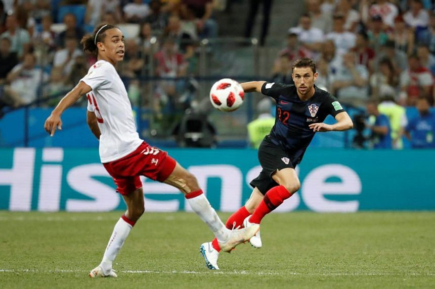 A Hisense advertisement seen during the World Cup match between Croatia and Denmark, on July 1, 2018.