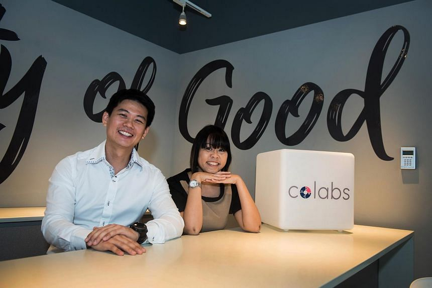 National Volunteer and Philanthropy Centre director of strategic partnership Darrel Lim and Community Foundation of Singapore deputy chief executive Joyce Teo speaking about a new initiative both organisations co-founded called Colabs.