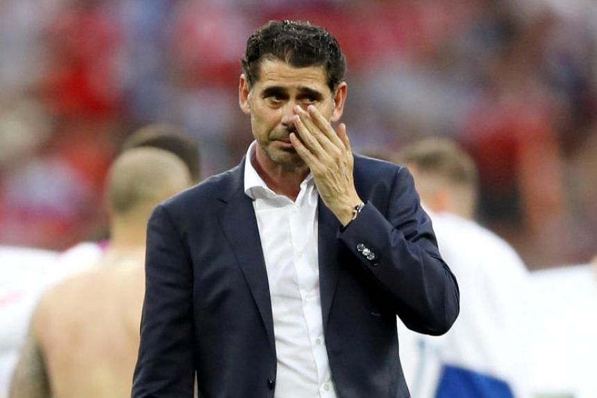 Spain coach Fernando Hierro looks dejected after losing the penalty shootout at the Luzhniki Stadium, Moscow, Russia, on July 1, 2018.
