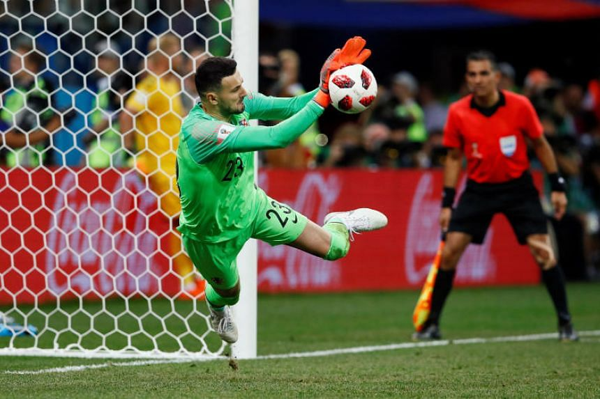 Croatia's Danijel Subasic saves a penalty from Denmark's Lasse Schone (not pictured) during the shootout in the Nizhny Novgorod Stadium, Nizhny Novgorod, Russia, on July 1, 2018.