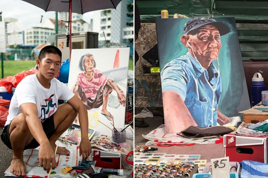 (Left) Nanyang Technological University student Brendan Mayle Kor spent three months at the Sungei Road market last year, painting portraits of five vendors. (Right) This portrait of a Sungei Road vendor, by NTU student Brendan Mayle Kor, will be amo
