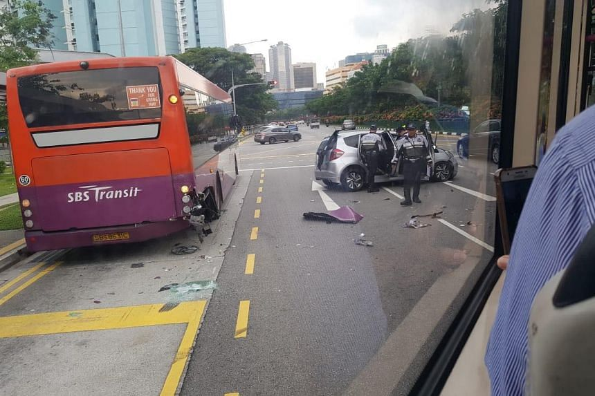 An SBS Transit bus and a silver Honda car were involved in the accident, which took place in Bukit Timah Road, on July 2, 2018.