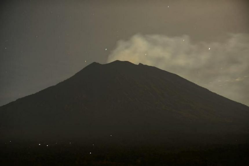 A view of Bali's Mount Agung after an eruption on June 30, 2018. Mount Agung has shown increasing volcanic activity since June 27, 2018.